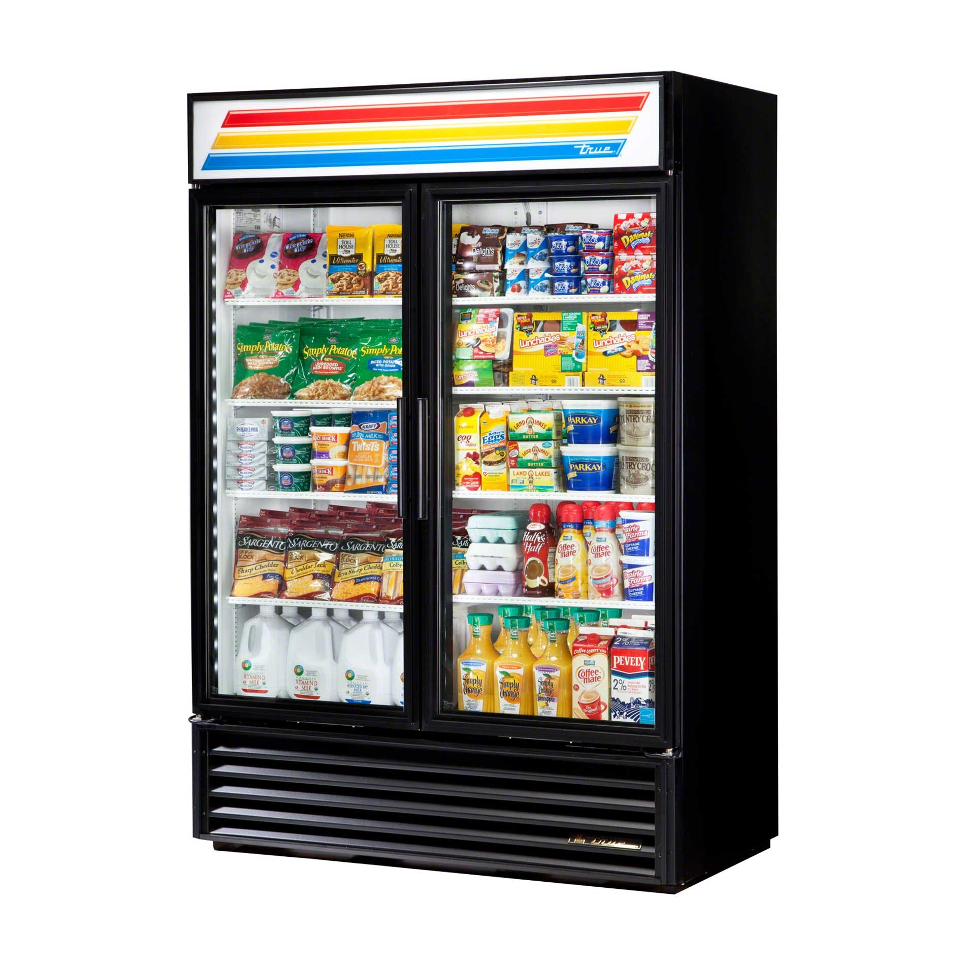 "True - GDM-49-RC-LD 55"" Glass Swing Door Merchandiser Refrigerator LED Commercial refrigerator sold by Food Service Warehouse"