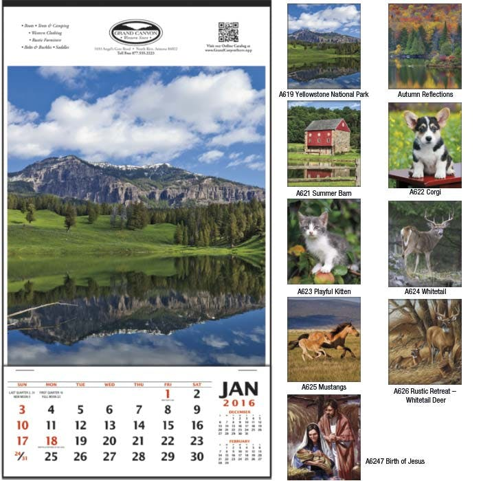 Norwood Promotional Products :: Product :: Vertical Hanger without Dateblocks Custom calendar sold by Distrimatics, USA