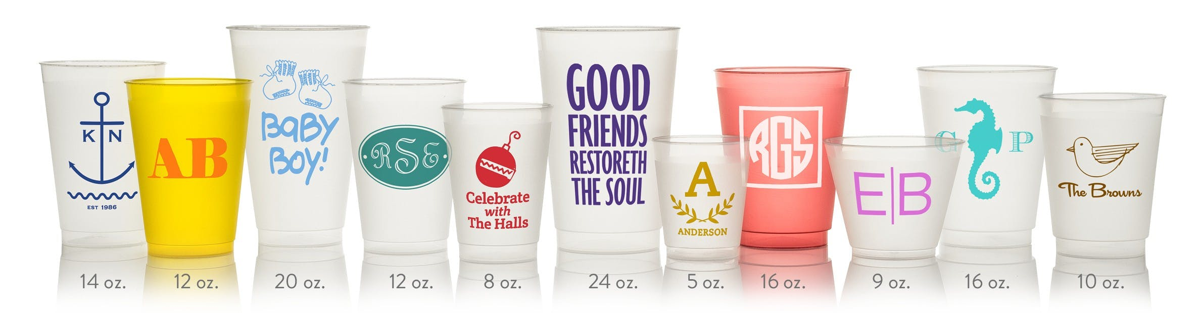 Custom Printed Frost Flex (Shatterproof) Cups in 9 sizes (min. 50) - Custom Plastic Cups - sold by Cup of Arms