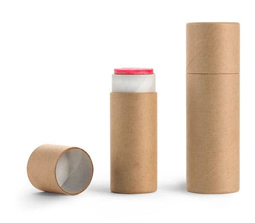 Brown Paperboard Push Up Lip Balm Tubes Cardboard Carton