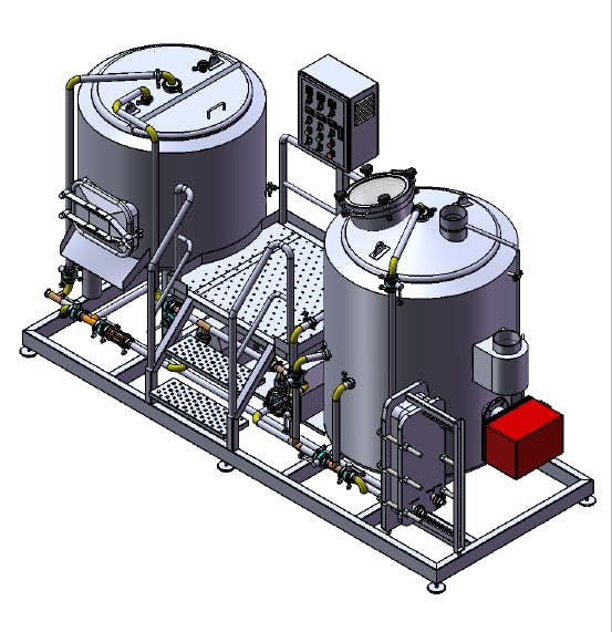 3 BBL Brewhouse - 2 Vessels - Gas fired Brewhouse sold by TD Tanks, LLC