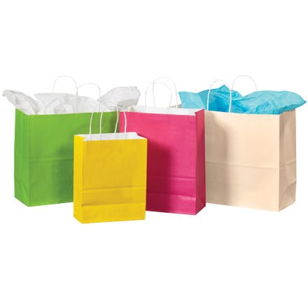 White Tinted Paper Shopping Bags Paper packaging sold by Ameripak, Inc.