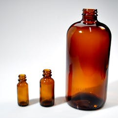 32 oz. Amber Boston Round Glass (#116626) - sold by Berlin Packaging