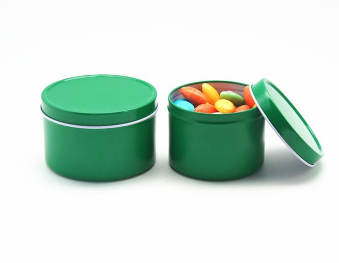 Deep Rust Proof Window Lid Tin Can - Green Metal tins sold by Mimi Pack