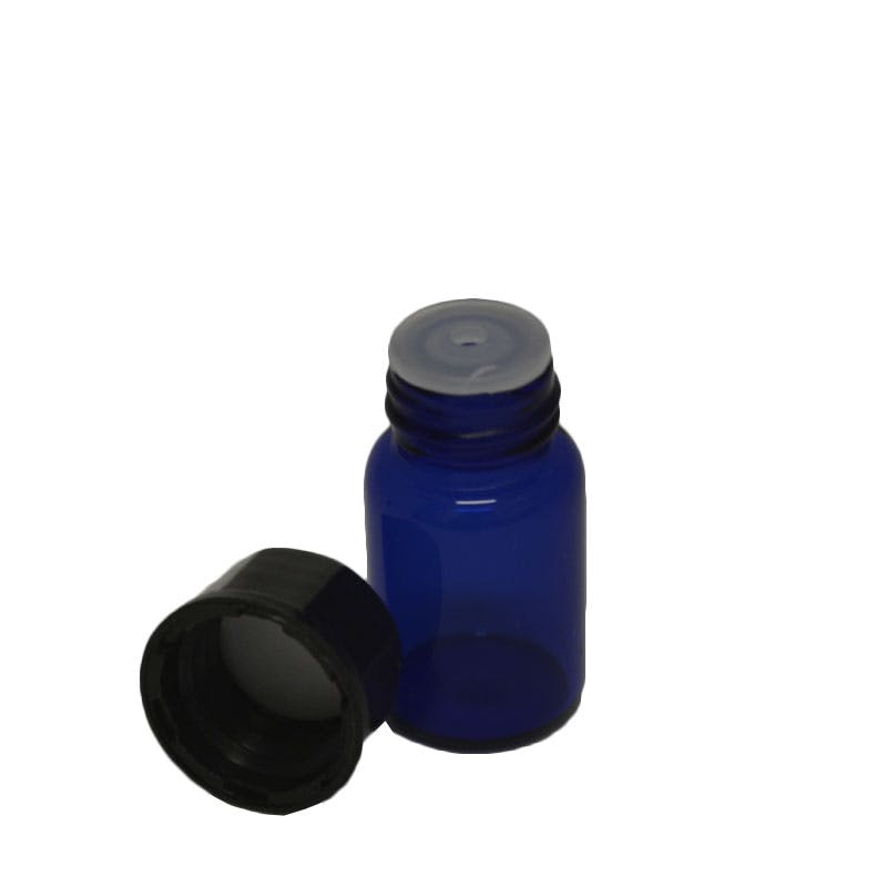 5/8 Dram Cobalt with reducer Glass bottle sold by Glass Bottle Outlet