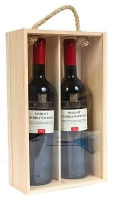 Two Bottle Wood Wine Box with Clear Lid and Handle Wine box sold by SpiritedShipper