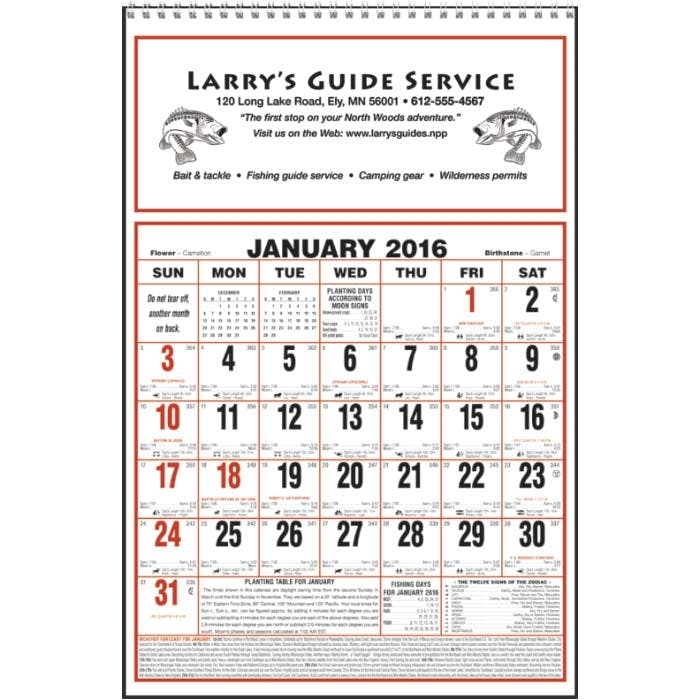 Norwood Promotional Products :: Product :: Large Almanac Custom calendar sold by Distrimatics, USA