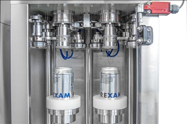 Twin head semi-auto can seamer Can filler sold by IC Filling Systems