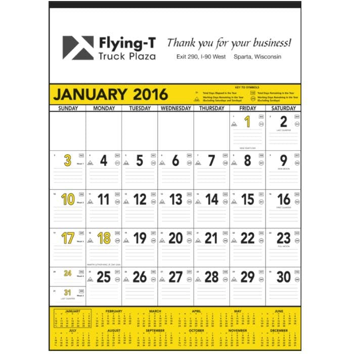 Norwood Promotional Products :: Product :: Yellow & Black Contractor's Memo (13-sheet) Custom calendar sold by Distrimatics, USA