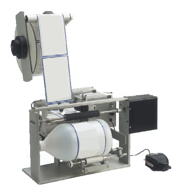 Semi-Automatic Labeling Machines Bottle labeler sold by Inline Filling Systems