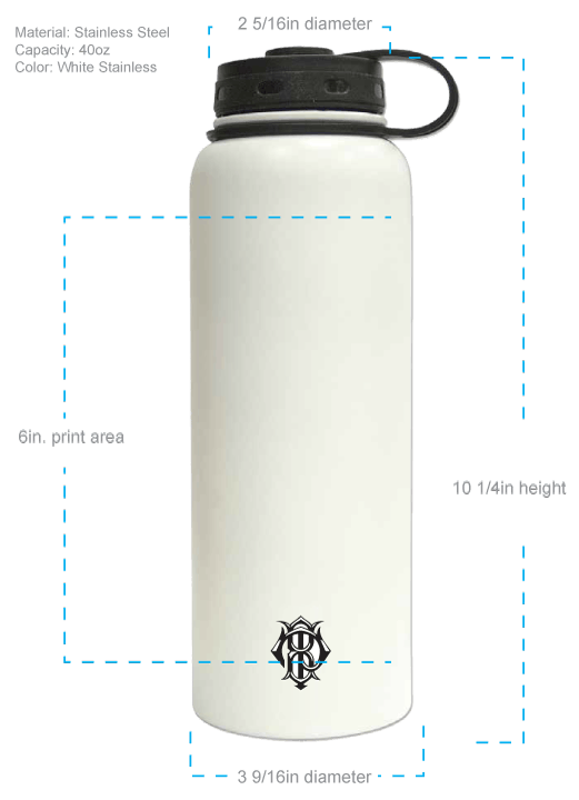 40oz Powder Coated Double-Walled Insulated Growler - sold by Cascade Graphics