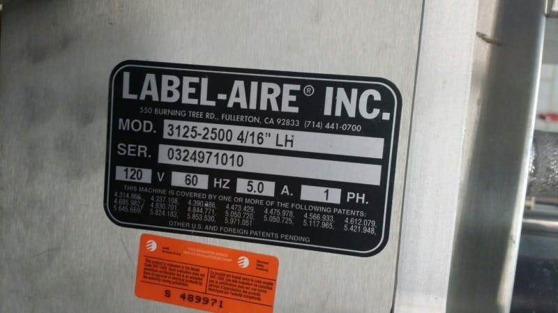 """LABEL-AIRE 3125-2500 4/16""""LH (3125 Wipe-On) Label Applicator (Used) - sold by Aevos Equipment"""