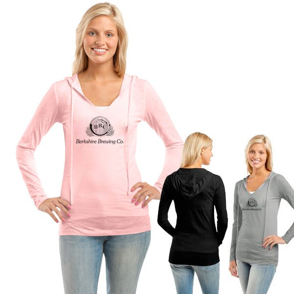 Juniors Slub V-Neck Hoodie Promotional shirt sold by MicrobrewMarketing.com