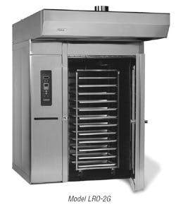 LBC LRO-2G BakerSeries® Gas, Roll-In Rotating [Double] Rack Oven Commercial oven sold by Bakery Equipment.com