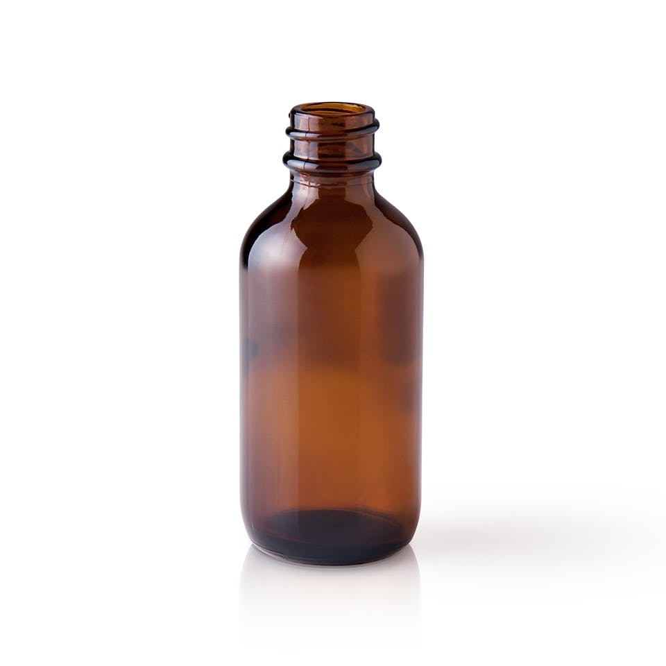 2 oz Amber Glass Boston Round Bottle - sold by Packaging Options Direct