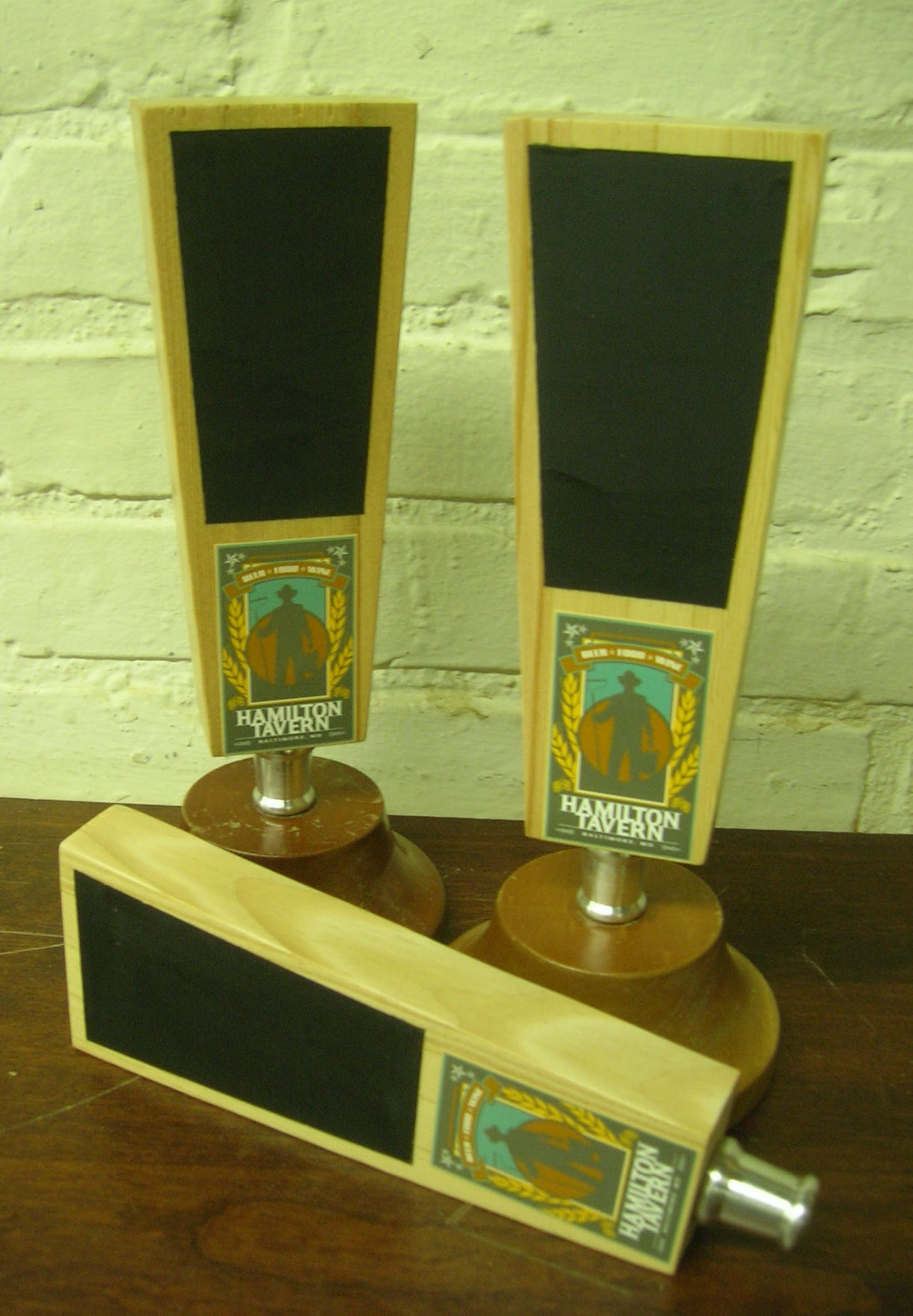 Slab style with chalk board painted area. - Natural Wood Tap Handles - sold by Mark Supik & Co.