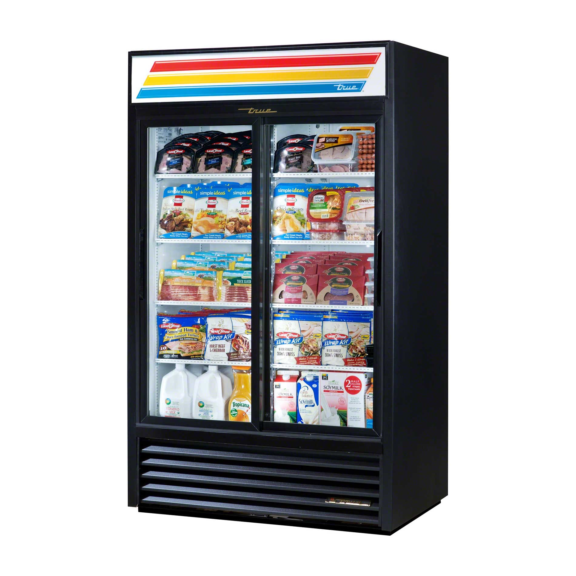 "True - GDM-41-LD 47"" Slide Glass Door Merchandiser Refrigerator LED Commercial refrigerator sold by Food Service Warehouse"