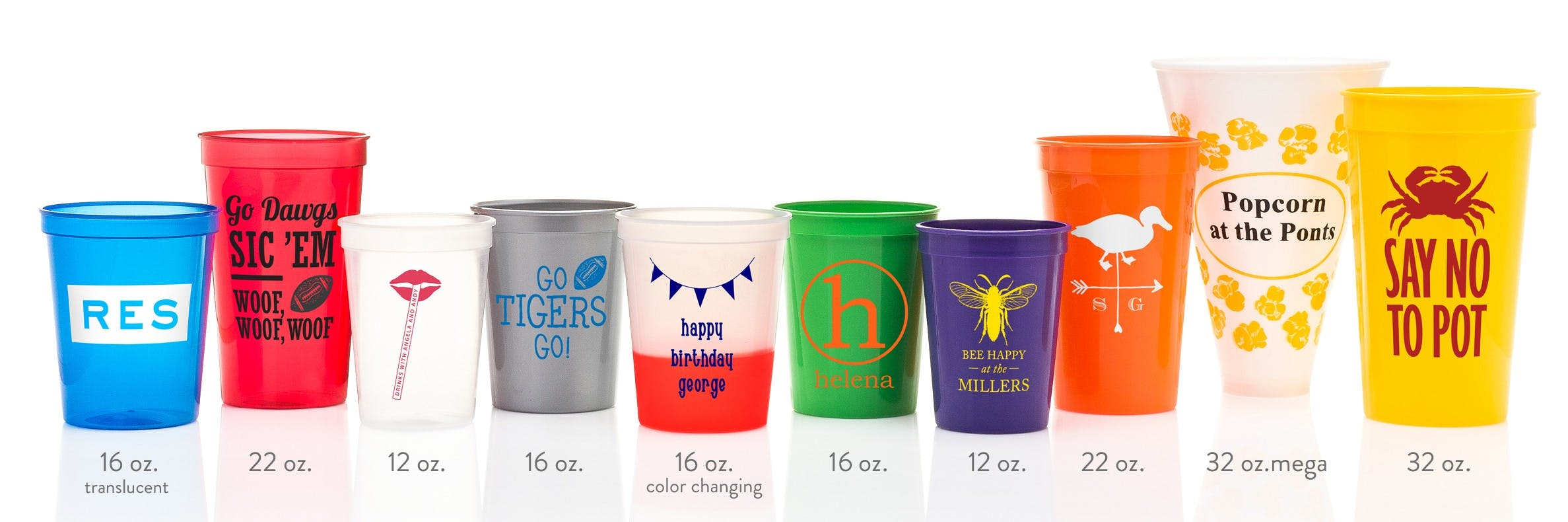 Custom Printed Stadium Cups (4 sizes and multiple colors including color changing mood cups (min. 50) - Custom Plastic Cups - sold by Cup of Arms