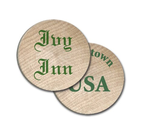 wooden tokens Promotional token sold by Luscan Group