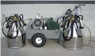 Deluxe Model milking machine for COWS with 2 (7.5 gal) stainless bucket assemblies Milking machine sold by Simple Milking Equipment