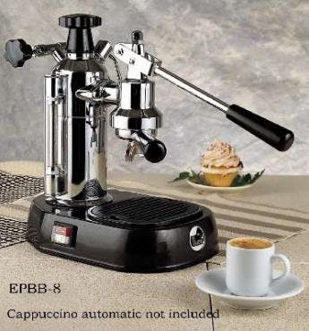La Pavoni Europiccola Lever Espresso Machine, Chrome/Black, 8 cup capacity Espresso machine sold by Prima Coffee