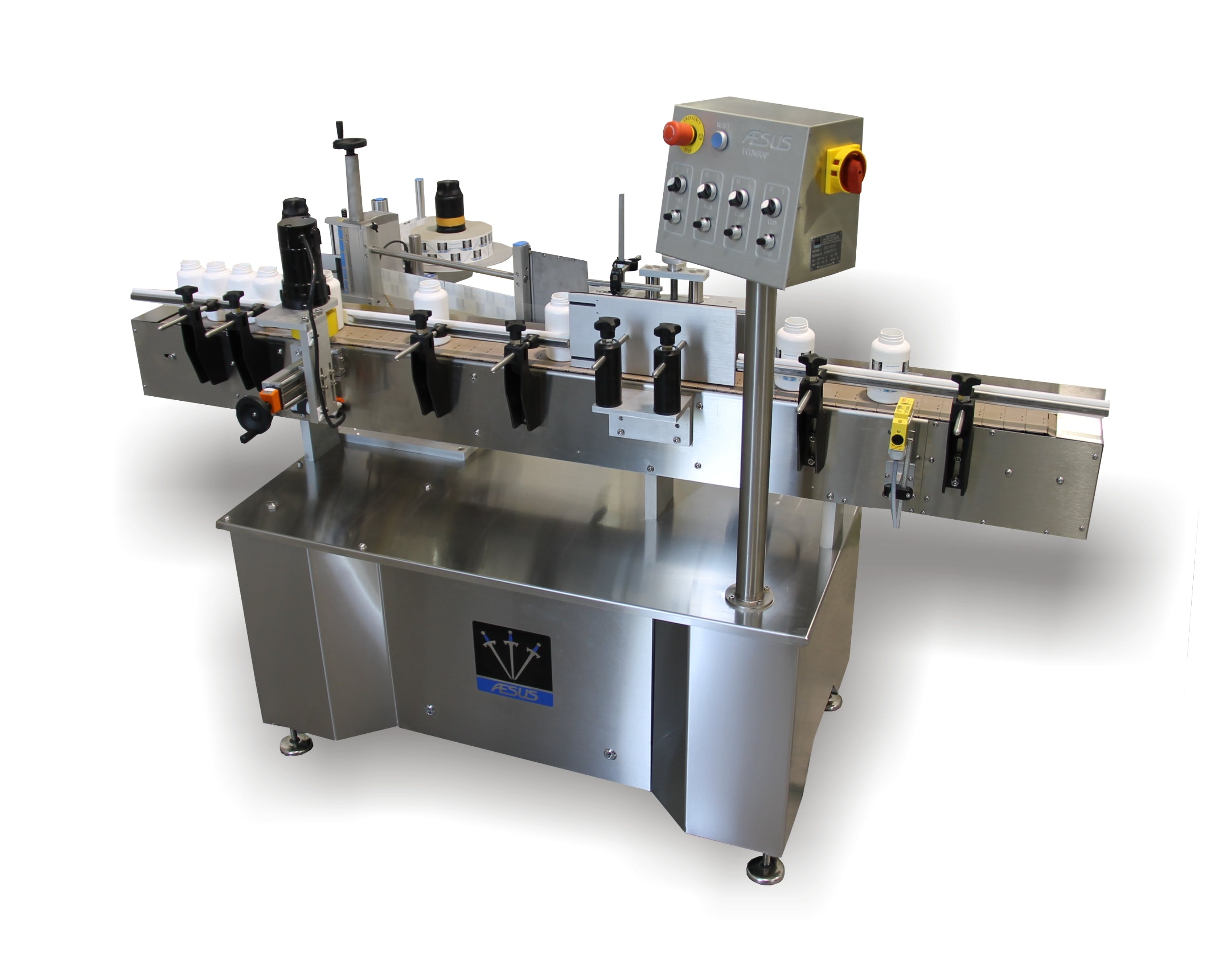 Aesus Eco Wrap Labeler - with PRISM Roller Option Bottle labeler sold by Package Devices LLC
