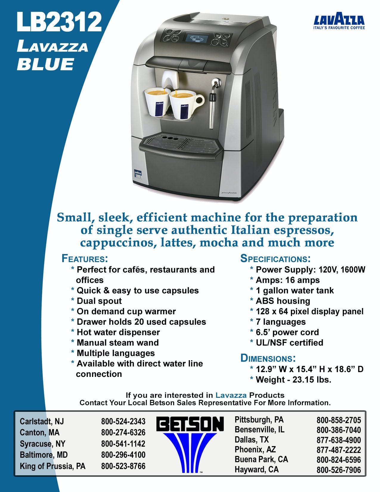 LB2312 Lavazza Blue Espresso Machine Espresso machine sold by Betson Enterprises