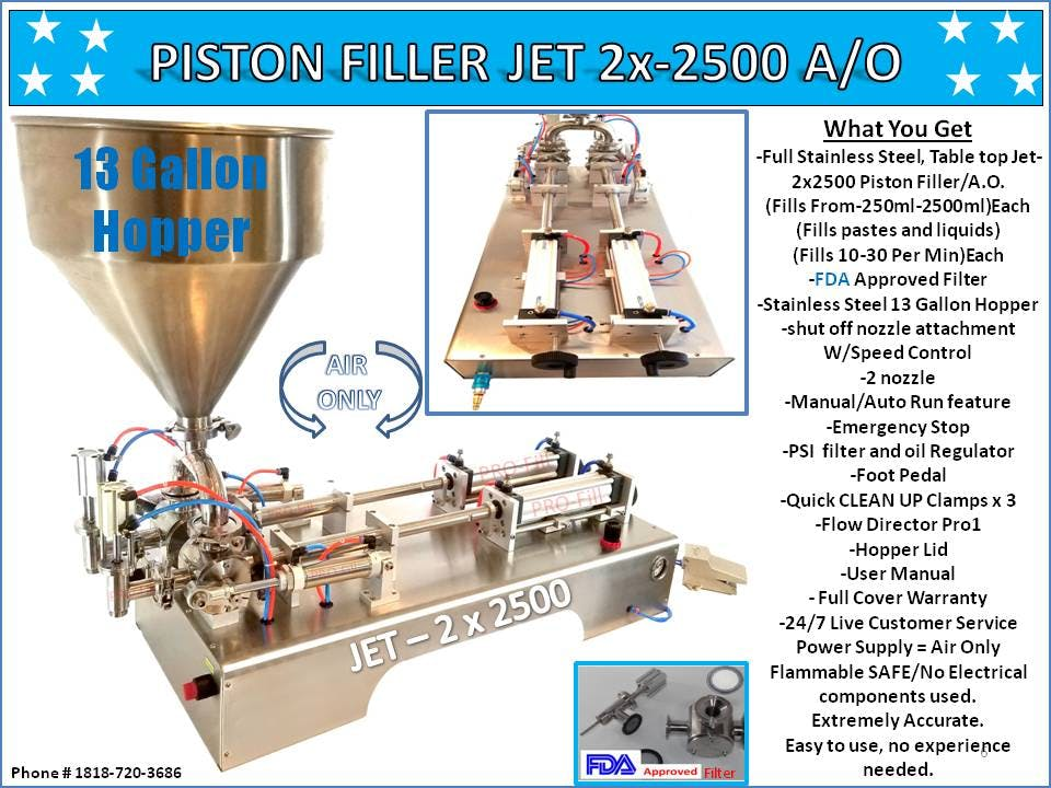PISTON FILLER JET 2x-2500 A/O Filling machine sold by Pro Fill Equipment