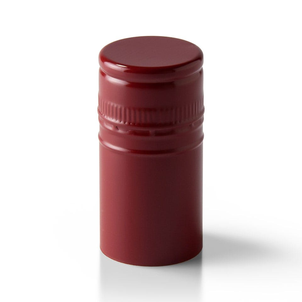 Burgundy Stelvin Closure with Saranex Oxygen Barrier Bottle capsule sold by Packaging Options Direct