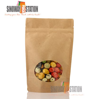 Natural Kraft paper Standup Pouch with Window Food Packaging sold by sinowaypouchstation.com,LLC