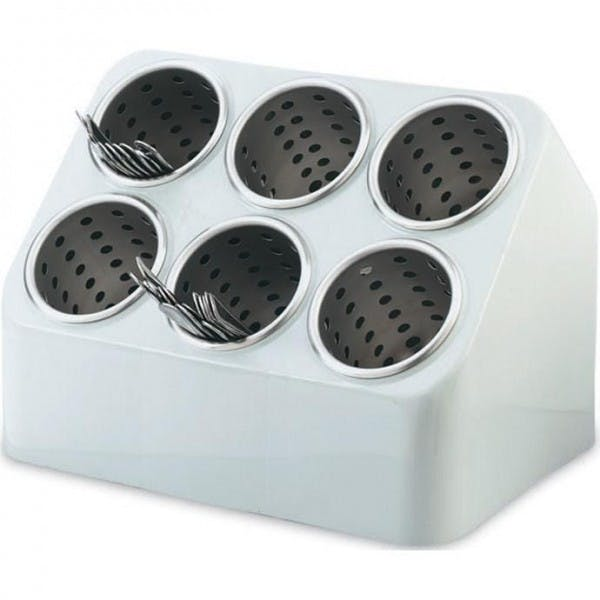 6 Compartment Gray Plastic Flatware Cylinder Holder