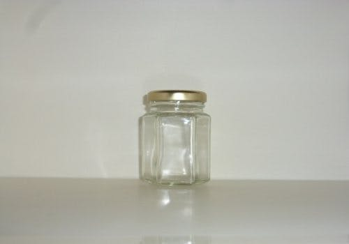 110ml Hex Jar - Hex glass jars - sold by Cape Bottle Company, Inc.