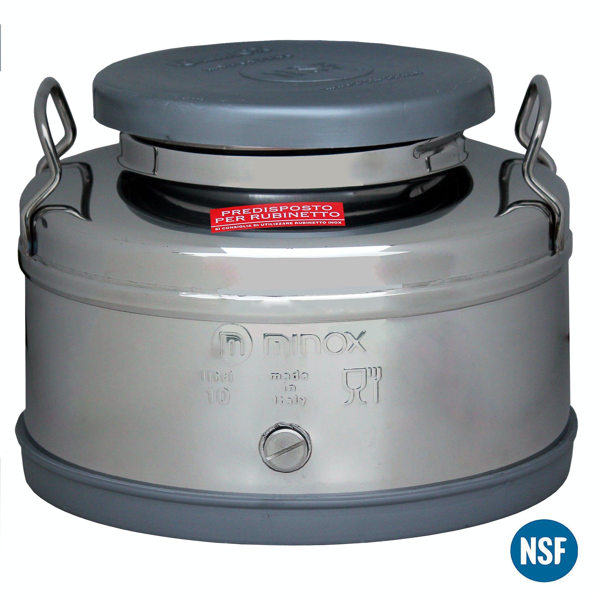Italian Made Stainless Steel National Sanitary Foundation (NSF) Certified Fusti-10 Liters Steel fusto sold by M5 Corporation