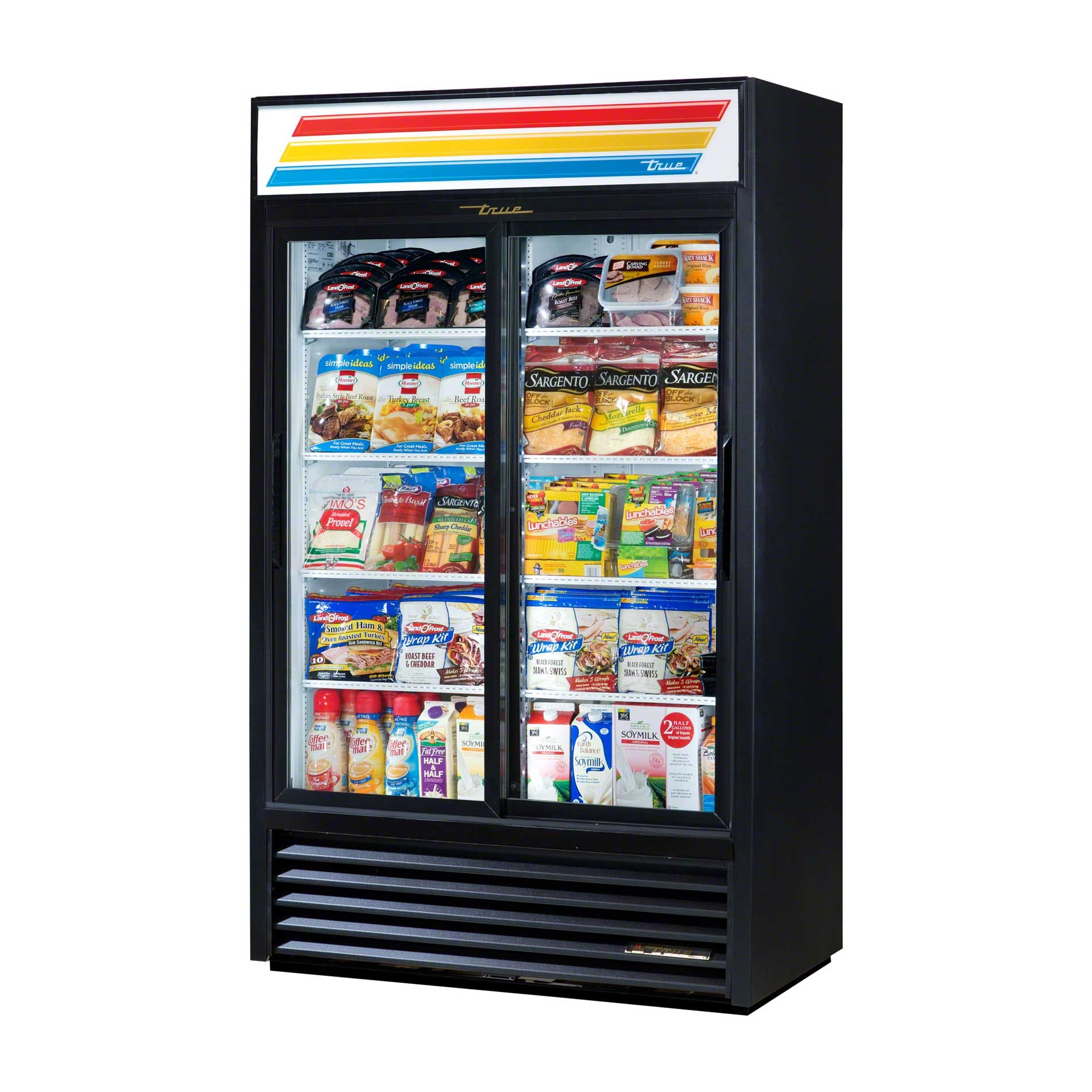 "True - GDM-41SL-LD 47"" Slide Glass Door Merchandiser Refrigerator LED Commercial refrigerator sold by Food Service Warehouse"