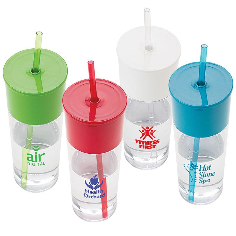 22 Oz. Plastic Bottle with Straw (Item # GHLKU-JPYER) Plastic bottle sold by InkEasy