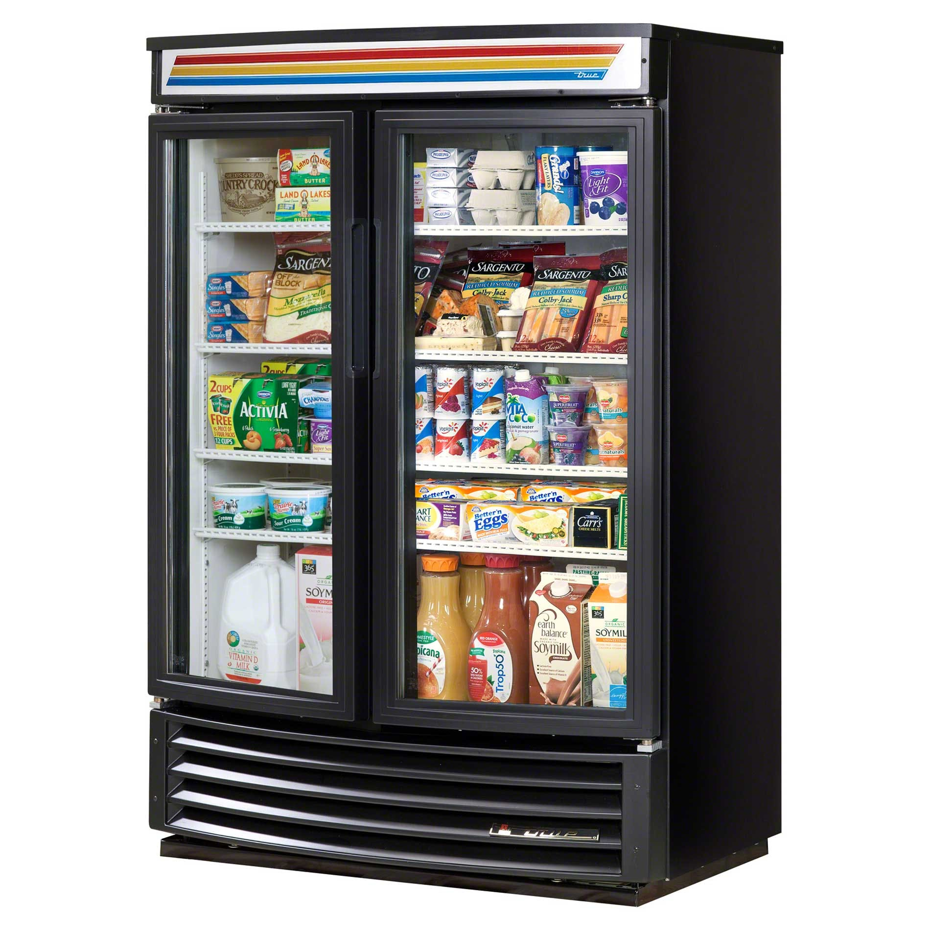 "True - GDM-35SL-RF-LD 40"" Radius Front Glass Door Merchandiser Refrigerator LED Commercial refrigerator sold by Food Service Warehouse"