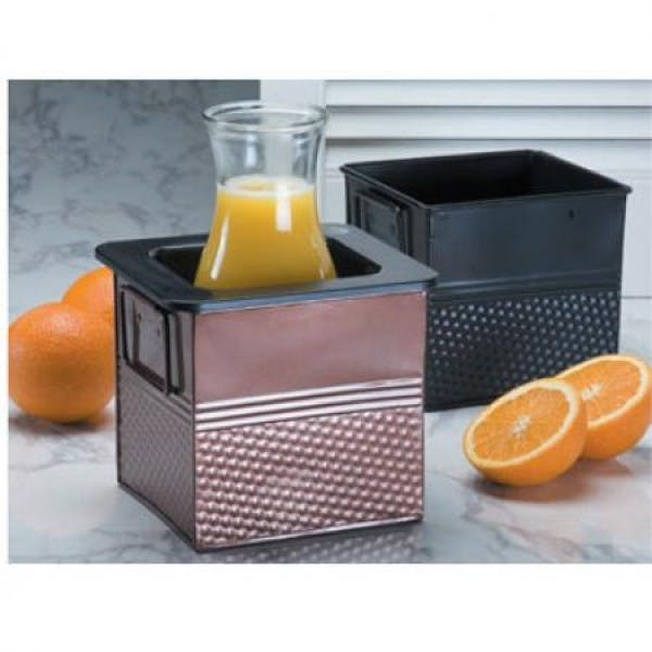 "12.25"" x 6.25"" Black Rectangular Hammered Beverage Tub"