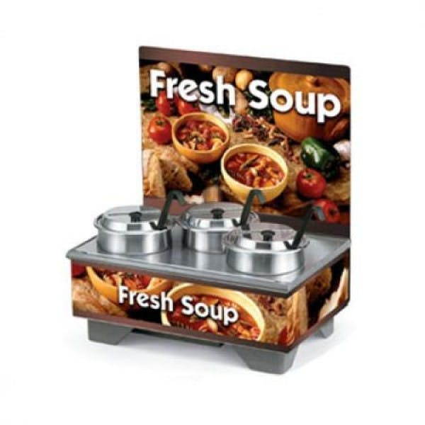 Cayenne® Full Size Rethermalizing Soup Merchandiser w/ Menu Board & Country Kitchen Graphics - V-VOL720201103