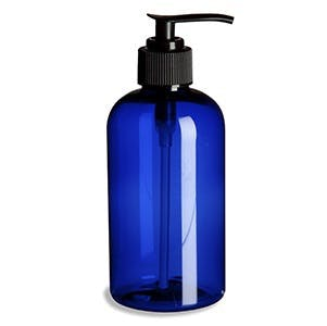 8 oz Blue Plastic PET Boston Round Bottle w/ Lotion Pump Plastic bottle sold by PremiumVials