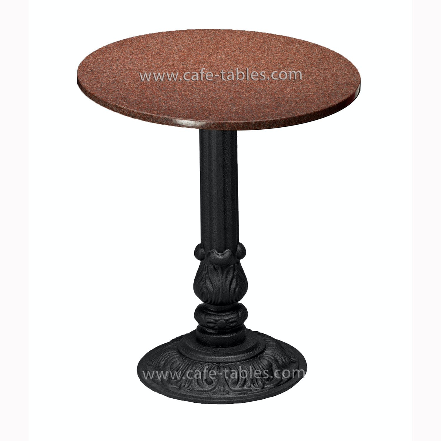 "30"" New Imperial Red Granite top with Pieta base Restaurant table sold by Cafe Tables"