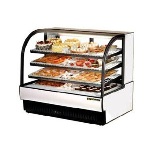 True Manufacturing TCGR-50 Refrigerated Bakery Display Case, Curved Glass, 27.4 Cu. Ft. Food display case sold by Mission Restaurant Supply