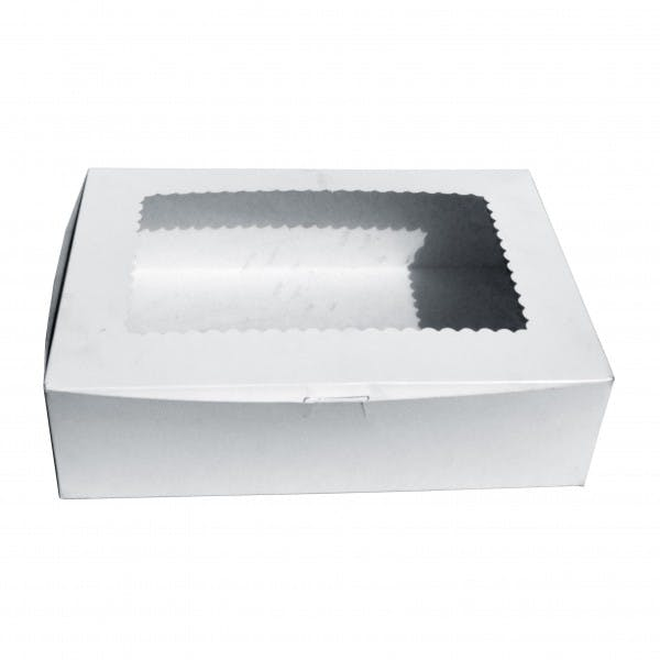 "14"" x 10"" x 4"" White Cardboard Cake Box w/ Window"