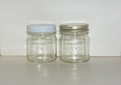 8oz. Squat mason glass jars Glass Jar sold by Cape Bottle Company, Inc.