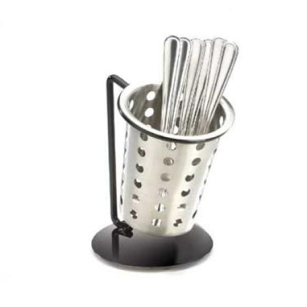 Single Black Iron Ring Cutlery Holder w/ Perforated Cylinder