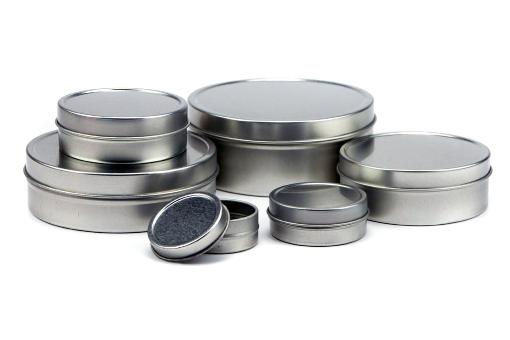 Shallow Solid Top Tin Can - Silver Metal tins sold by Mimi Pack