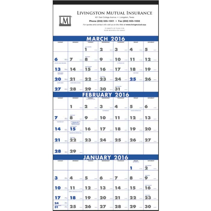 Norwood Promotional Products :: Product :: 3-Month Planner (4-Sheet) Custom calendar sold by Distrimatics, USA