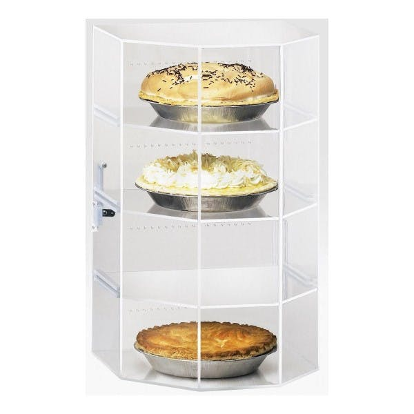 4 Tray Hex Front Pie Case w/ Rear Door