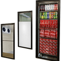 "GTD Glass Self-Closing Walk-In Entry Cooler Doors (Service Door) Black 36"" X 81"" - Walk in cooler sold by Easy Refrigeration Company"
