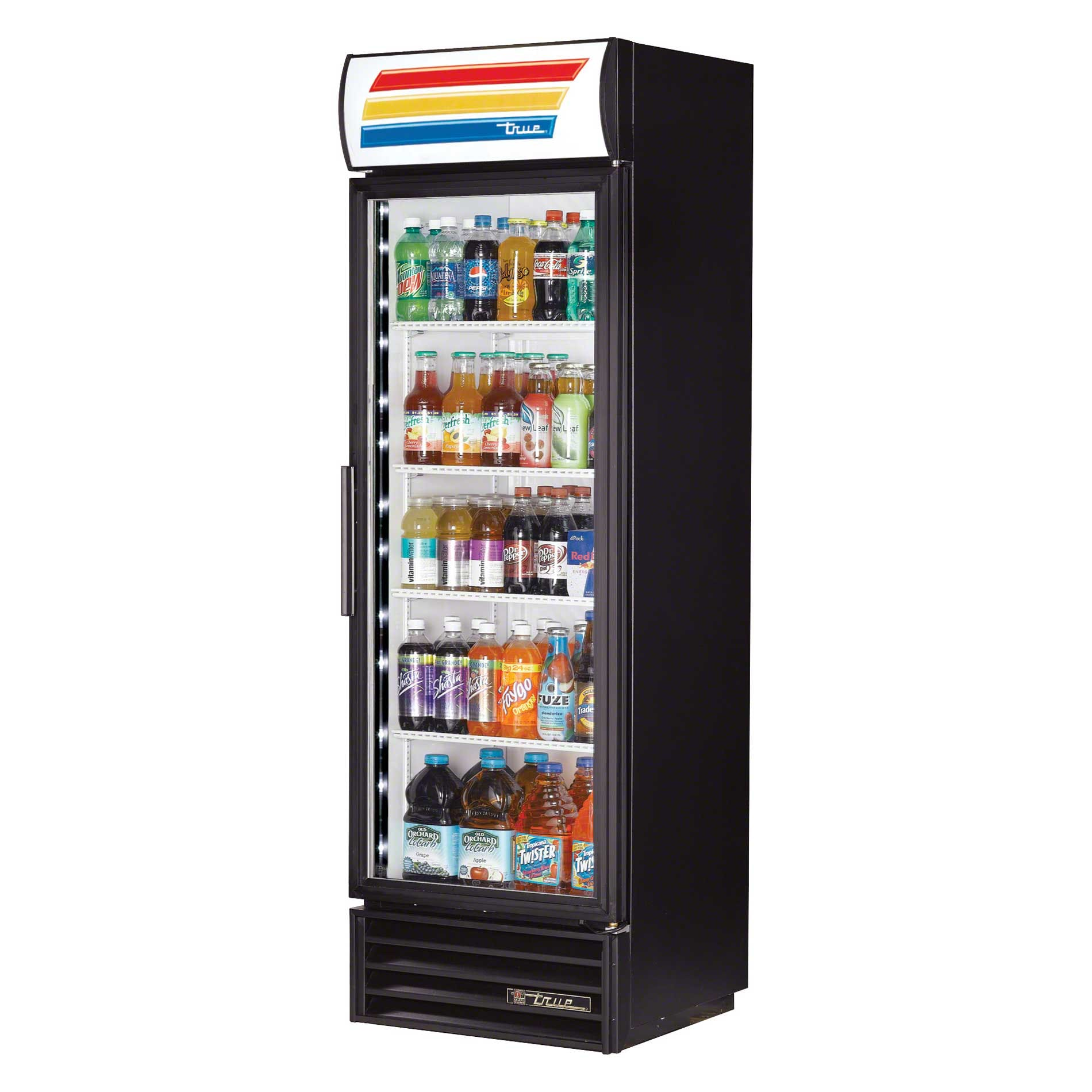 "True - TVM-400-LD 25"" Swing Glass Door Merchandiser Refrigerator LED Commercial refrigerator sold by Food Service Warehouse"