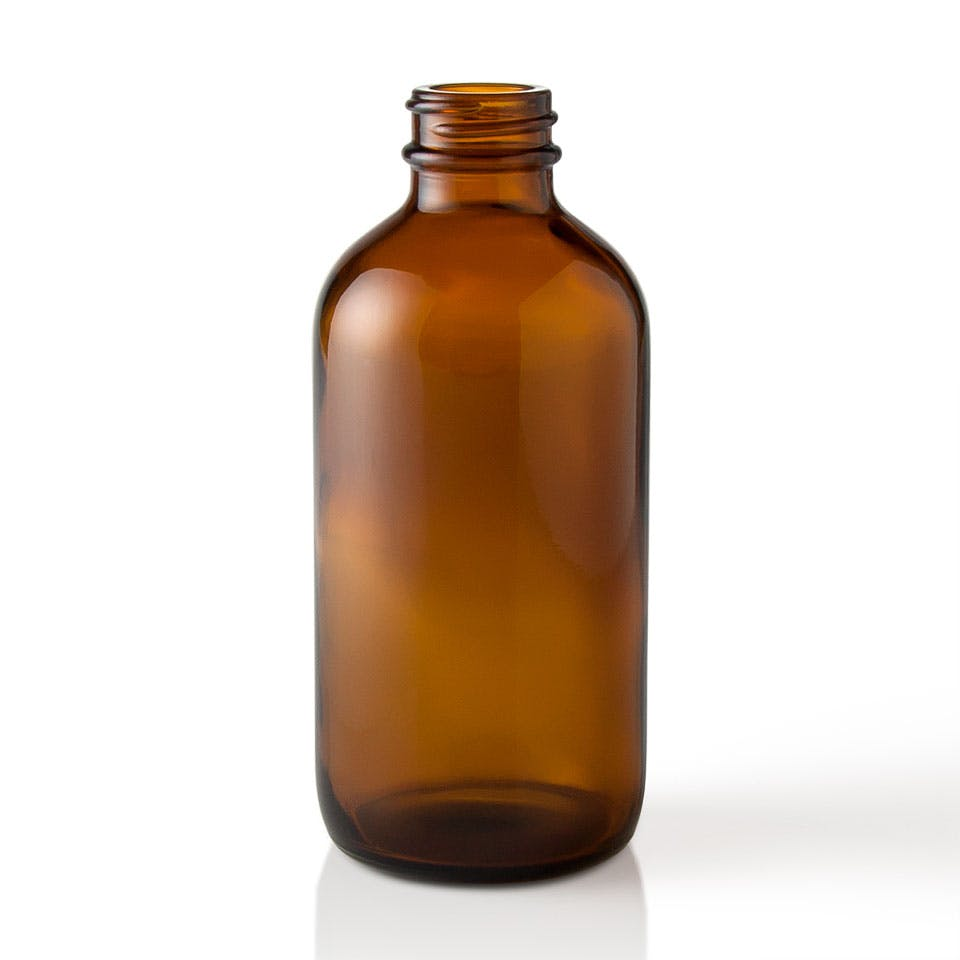 8 oz Amber Glass Boston Round Bottle Glass bottle sold by Packaging Options Direct